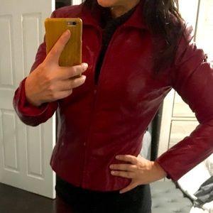 Burgundy red leather jacket by Danier